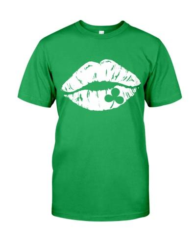 Kiss Me I'm Irish Lips Shamrock St Patrick's Day