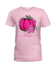 In October We Wear Pink Pumpkin Ribbon Breast Ladies T-Shirt front