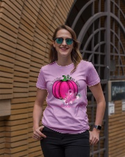 In October We Wear Pink Pumpkin Ribbon Breast Ladies T-Shirt lifestyle-women-crewneck-front-2