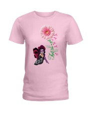 Fairy Fight Like A Girl Pink Daisy Flower Ribbon  Ladies T-Shirt front