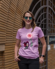 Fairy Fight Like A Girl Pink Daisy Flower Ribbon  Ladies T-Shirt lifestyle-women-crewneck-front-2
