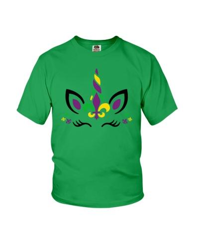 Funny Unicorn Mardi Gras - Youth T- Shirt