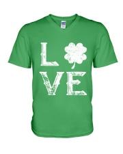 Vintage Love Shamrock Irish St Patrick's Day V-Neck T-Shirt thumbnail