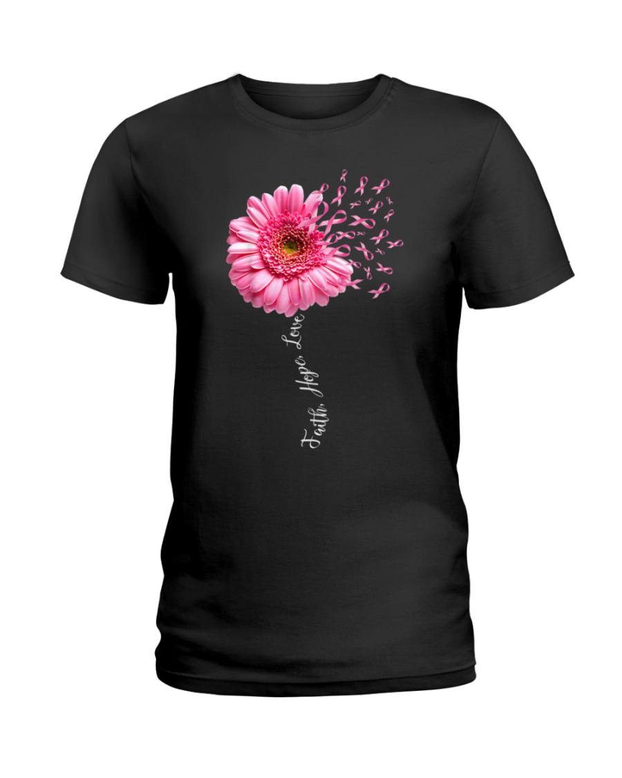 Faith Hope Love Pink Ribbon Daisy Flower Ladies T-Shirt