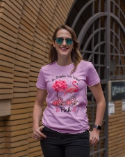 In October We Wear Pink Breast Cancer Flamingo Ladies T-Shirt lifestyle-women-crewneck-front-2
