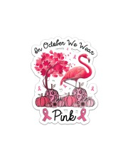 In October We Wear Pink Breast Cancer Flamingo Sticker - Single (Vertical) thumbnail