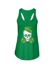 Funny Skeleton Skull Shamrock St Patrick's Day  Ladies Flowy Tank tile