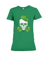 Funny Skeleton Skull Shamrock St Patrick's Day  Premium Fit Ladies Tee tile