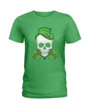 Funny Skeleton Skull Shamrock St Patrick's Day  Ladies T-Shirt tile
