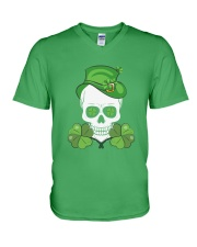 Funny Skeleton Skull Shamrock St Patrick's Day  V-Neck T-Shirt tile