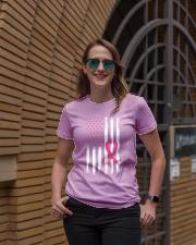 USA Flag Breast Cancer Awareness Pink Ribbon Ladies T-Shirt lifestyle-women-crewneck-front-2