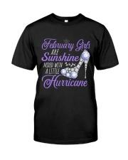 February Girls Are Sunshine Mixed With Hurricane Classic T-Shirt thumbnail
