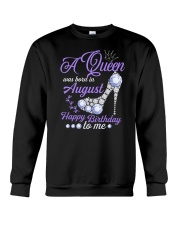 A Queen Was Born In August Happy Birthday  Crewneck Sweatshirt thumbnail