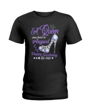A Queen Was Born In August Happy Birthday  Ladies T-Shirt thumbnail
