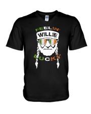 Feeling Willie Lucky Irish Flag St Patrick's Day V-Neck T-Shirt thumbnail