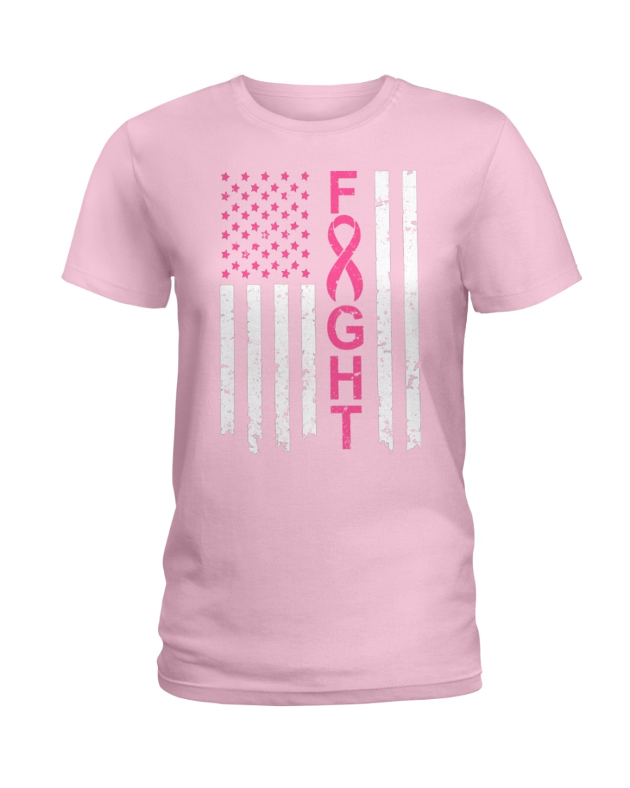 Breast Cancer Awareness American Flag Distressed Ladies T-Shirt