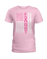 Breast Cancer Awareness American Flag Distressed Ladies T-Shirt front