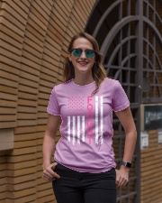 Breast Cancer Awareness American Flag Distressed Ladies T-Shirt lifestyle-women-crewneck-front-2