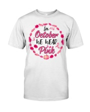 In October We Wear Pink Leaves Pumpkin Ribbon Classic T-Shirt thumbnail
