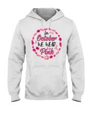 In October We Wear Pink Leaves Pumpkin Ribbon Hooded Sweatshirt thumbnail