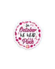In October We Wear Pink Leaves Pumpkin Ribbon Sticker - Single (Vertical) thumbnail