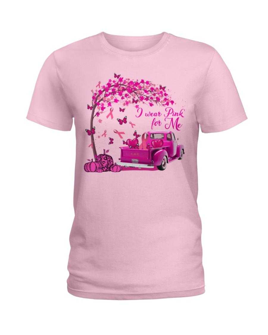 In October I Wear Pink For Me Pumpkin Truck  Ladies T-Shirt