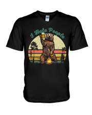 I Hate People Funny Bear Drinking Beer Camping  V-Neck T-Shirt thumbnail