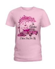 In October I Wear Pink For Me Plaid Truck Breast  Ladies T-Shirt front