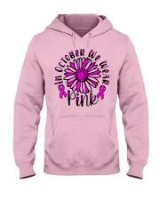 In October We Wear Pink Daisy Flower Breast Cancer Hooded Sweatshirt thumbnail