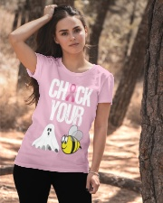 Check Your Boo Bees Breast Cancer Halloween Ladies T-Shirt apparel-ladies-t-shirt-lifestyle-06