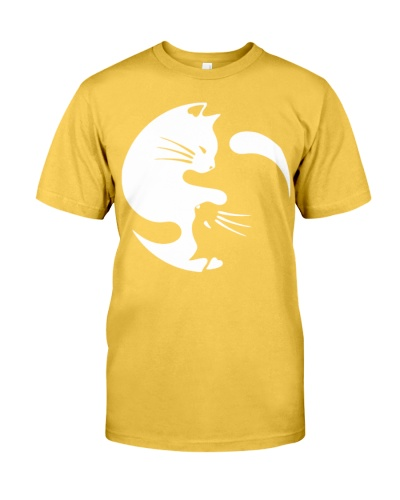 Cat Yin Yang Shirts - Womens Tri-Blend V-Neck T-
