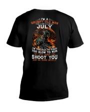 Grumpy old man July tee Cool T shirts LHA V-Neck T-Shirt thumbnail