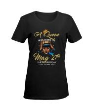 A QUEEN WAS BORN MAY Ladies T-Shirt women-premium-crewneck-shirt-front
