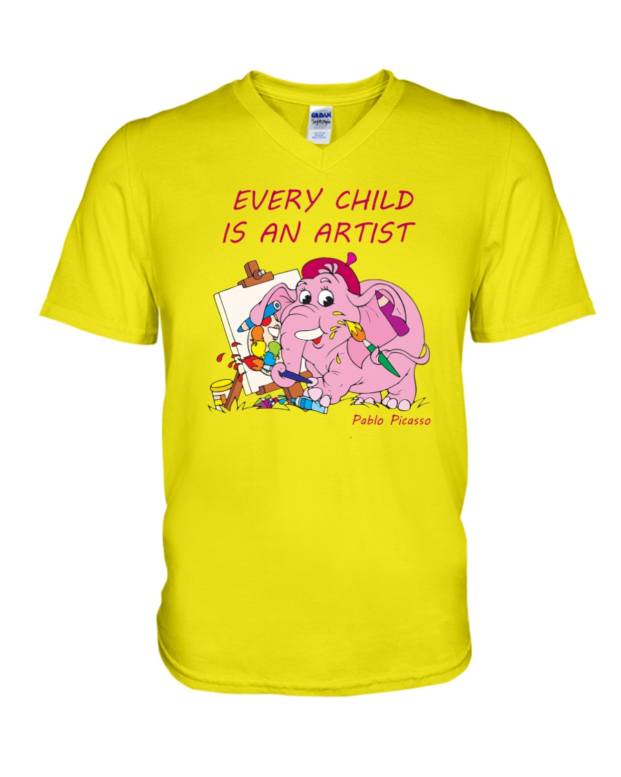 Baby-Elephant-Cartoon - Every Child Is An Artist V-Neck T-Shirt