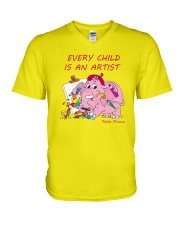Baby-Elephant-Cartoon - Every Child Is An Artist V-Neck T-Shirt front