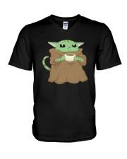 Baby Yoda Cat V-Neck T-Shirt thumbnail