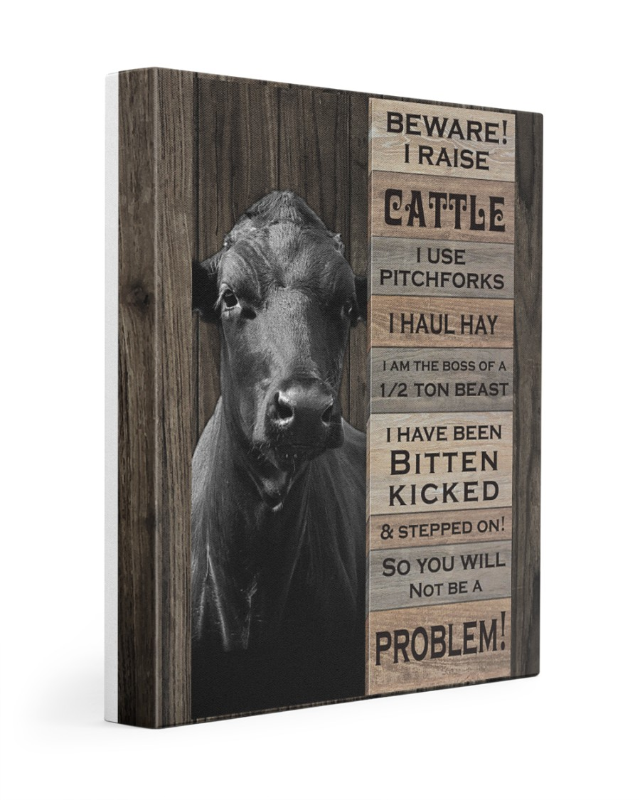 Beware i raise cattle 11x14 Gallery Wrapped Canvas Prints