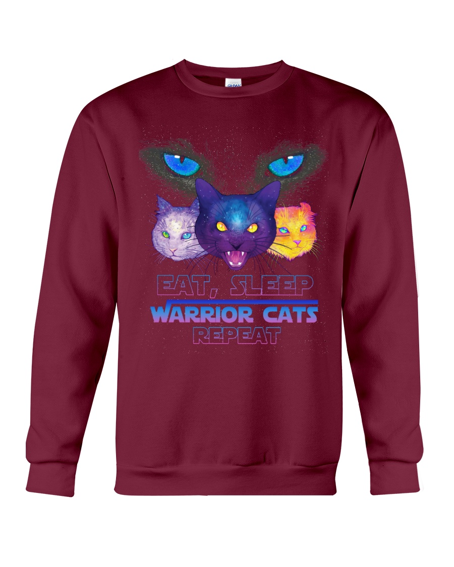 Eat sleep warrior cats repeat Crewneck Sweatshirt