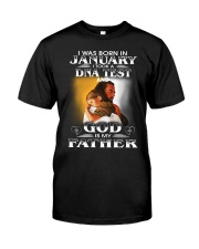 I was born in january and God is my father  Premium Fit Mens Tee tile