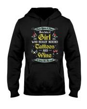 Girl tatoos wine Hooded Sweatshirt tile