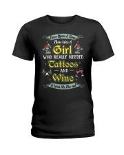 Girl tatoos wine Ladies T-Shirt tile