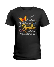 Butterfly Sometimes I Just Look Up Smile   Ladies T-Shirt tile