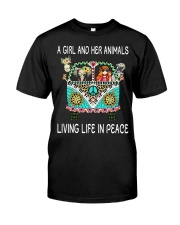 A Girl And Her Animals Living Life In Peace Classic T-Shirt front