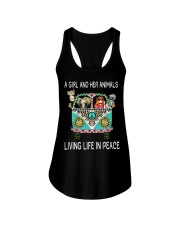A Girl And Her Animals Living Life In Peace Ladies Flowy Tank tile