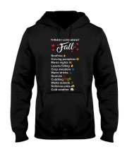 Things I Love About Fall Bonfires Carving Pumpkins Hooded Sweatshirt tile