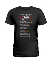 Things I Love About Fall Bonfires Carving Pumpkins Ladies T-Shirt tile