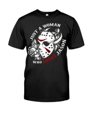 Just a woman who loves Jason Premium Fit Mens Tee tile