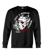 Just a woman who loves Jason Crewneck Sweatshirt tile