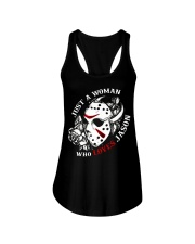 Just a woman who loves Jason Ladies Flowy Tank tile