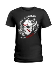 Just a woman who loves Jason Ladies T-Shirt tile